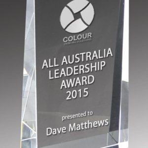 All Australia Leadership Award Trophy (Clear Optical Crystal Trophy – Crystal Wedge)