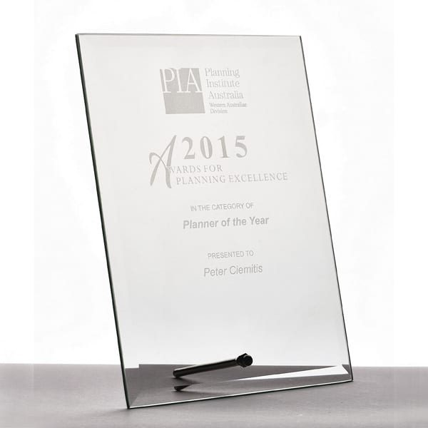 Glass Rectangle Trophy with Metal Stand