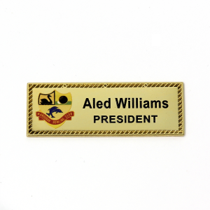 Name Badges | Printed Metal Bar With Border and Logo – A48 3L